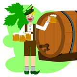 Man and beer in the Octoberfest stock illustration