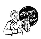 Man with beer. Vector black man with beer icon on white background Royalty Free Stock Photos