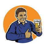 Man with beer. Vector color man with beer icon on white background Stock Images