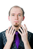 Man begging. On the white background Stock Images