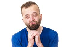 Man begging or apologizing. Funny guy showing face expression. Man begging for something or apologizing to someone stock photos
