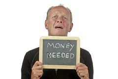 Man begging for money. On a white background Royalty Free Stock Photos