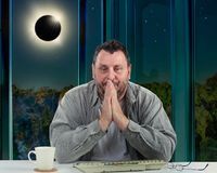 Man begins panicking because of solar eclipse stock images