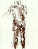 Man from behind. (Human figure.) Mixed media - Charcoal and water colors Royalty Free Stock Photos