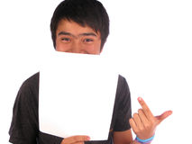 Man Behind a Banner. Add isolated over a white background Royalty Free Stock Photo