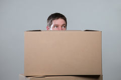 Man behind carryboards  on grey Stock Image