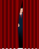 Man behind curtain Stock Images