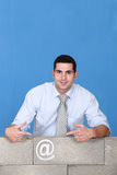 Man behind with email symbol Royalty Free Stock Photography