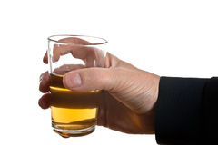 Man behind glass of brandy Stock Image