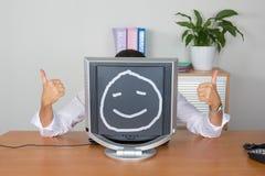 Man behind his computer Royalty Free Stock Image