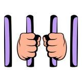 Man behind jail bars icon, icon cartoon Stock Image