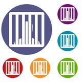 Man behind jail bars icons set Royalty Free Stock Image
