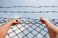 Man behind jail bars reaching out Stock Images