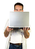Man Behind Laptop Royalty Free Stock Photos