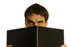 Man behind the open book royalty free stock image