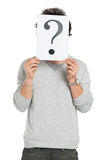Man Behind Question Mark Sign Royalty Free Stock Photo