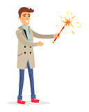 man in Beige Coat Holds Fireworks Device. Man in beige coat, blue jeans, light scarf and red shoes holds fireworks device in one hand. Vector portrait of Stock Image