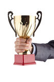 Man being awarded with  cup Royalty Free Stock Photography