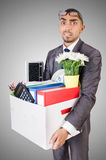 Man being fired with box Royalty Free Stock Photos