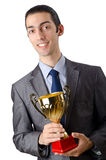 Man being  with golden cup Stock Images