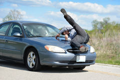 Man Being Hit by Car Stock Image