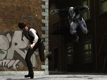 Man being hunted by urban werewolf. Terrified man running from leaping werewolf in run down area of the city Royalty Free Stock Image