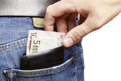 Man being pickpocketed Royalty Free Stock Images