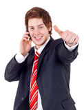 Man Being Positive on phone Royalty Free Stock Photos