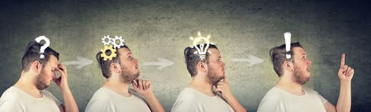 Man being thoughtful, thinking, finding a solution stock images