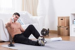 Man being tired after workout Stock Images