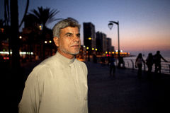 A man, Beirut. Waterfront, night time Stock Photo