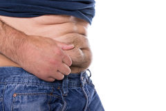 Man with belly fat Stock Photo