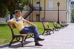The man on a bench Royalty Free Stock Images