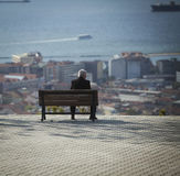 Man on Bench in Izmir Turkey Royalty Free Stock Images