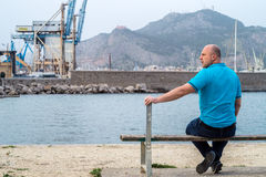 Man on bench Royalty Free Stock Photography