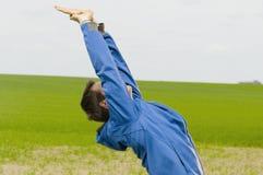 Man bend backward profile Royalty Free Stock Photo