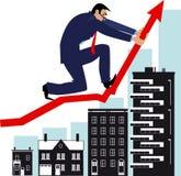 Housing market manipulation. Man bending a graph upwards, attempting to manipulate housing market, EPS 8 vector illustration Stock Photo
