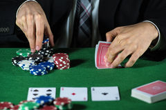 Man betting on the casino Stock Image