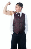 A man with biceps. Isolated on a white background stock images