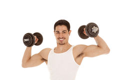 Man with biceps and weights Royalty Free Stock Images