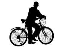 Man on a bicycle. Vector graphic male on a bicycle. Silhouette on white background vector illustration