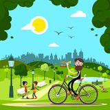 Man on Bicycle in City Park with People and Dog. On Background. Vector Stock Illustration