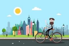 Man on Bicycle with City Skyscrapers on Background. Healthy Lifestyle in Town Concpt. Funky Person Waving Hand on Bike on the Road. Vector Biking Illustration royalty free illustration