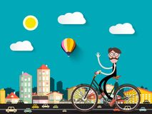 Man on Bicycle in the City with Small Cars. Vector Flat Cartoon Vector Illustration