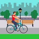 Man on Bicycle on City street. Cyclist in the city. Flat illustration. royalty free stock image