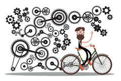 Man on Bicycle with Cogs Royalty Free Stock Photo