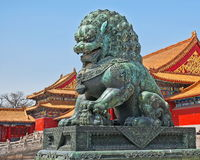 Forbidden City Beijing Female Guardian Lion royalty free stock photos