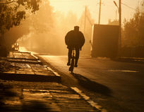 Man a bicycle on farm road. In the early morning Stock Images