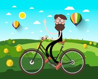 Man on Bicycle on Field with Hey Heaps. And Hot Air Balloons. Vector Illustration Stock Illustration