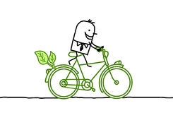 Man on bicycle. Hand drawn cartoon characters royalty free illustration